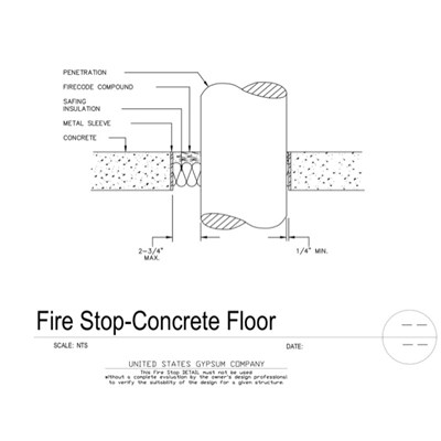 07 84 13-09 29 00.101 Firestop Concrete Floor-Celing Penetration