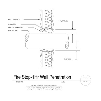 07 84 13-09 29 00.109 Firestop Wall Penetration Detail 1Hr Assembly
