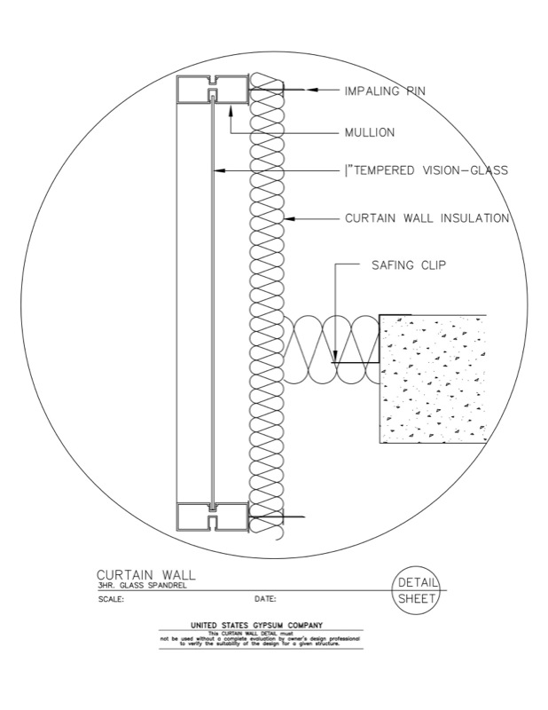 08 44 00.101 Curtain Wall 3Hr.Glass Spandrel Detail   Download Details
