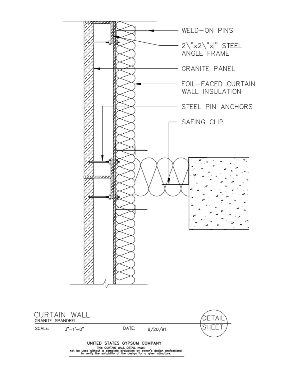 Glass Curtain Wall Section Construction Details