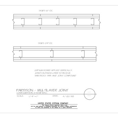 09 21 16.001 Gypsum Board Assembly Partition Multilayer Joint Configuration 2Hr
