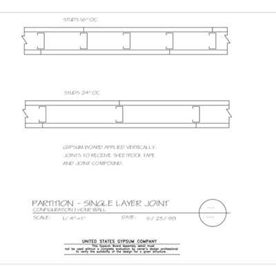 09 21 16.002 Gypsum Board Assembly Partition Multilayer Joint Configuration 1Hr