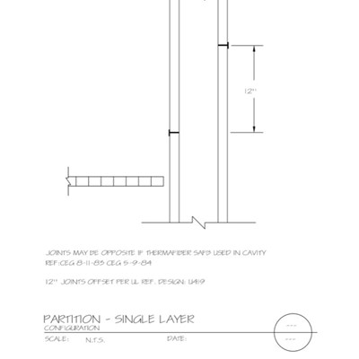 09 21 16.004 Gypsum Board Assembly Partition Single Layer Configuration