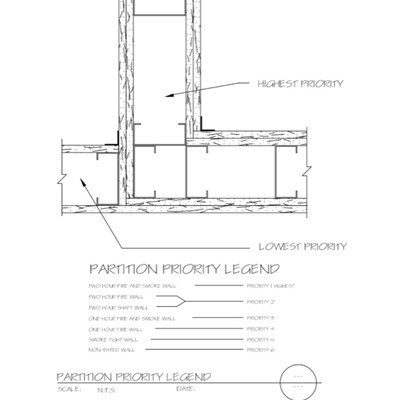 09 21 16.005 Gypsum Board Assembly Partition Priority Legend