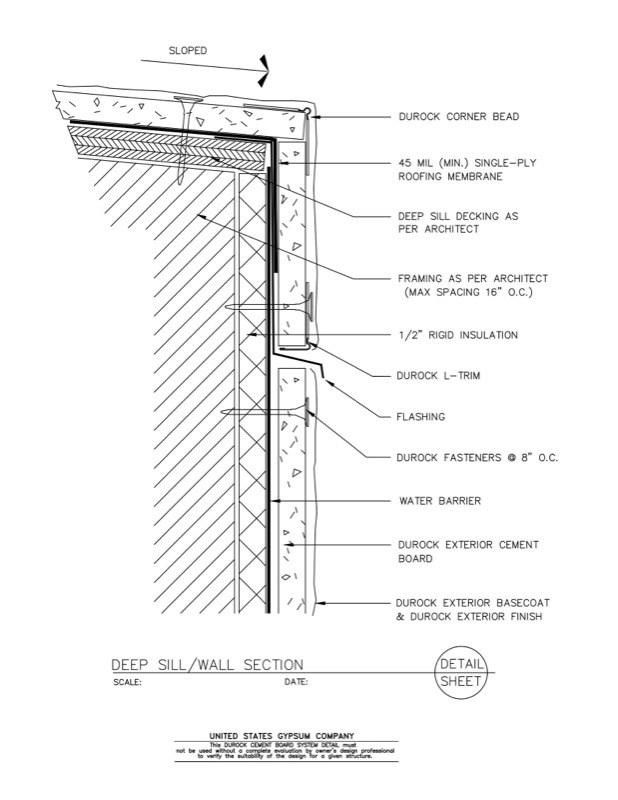 Usg Design Studio 09 21 16 03 1210 Durock Wall Deep Sill