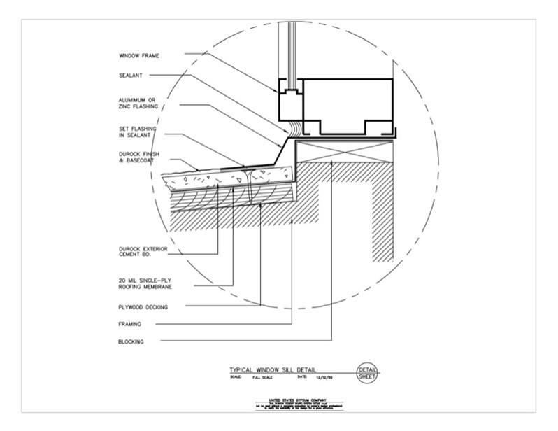 Usg Design Studio 09 21 Durock Typical Window Sill Detail Download Details
