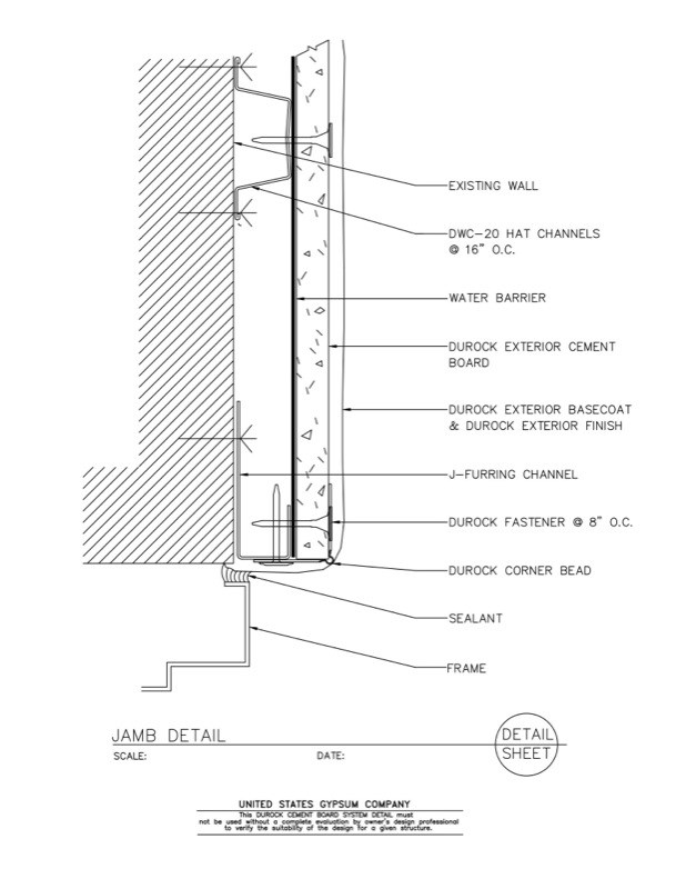 Usg Design Studio 09 21 16 03 142 Durock Jamb Detail