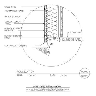 09 21 1603151 durock foundation detail - Metal Stud Framing Details