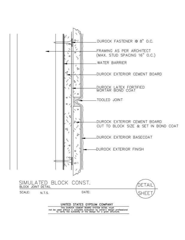 Usg Design Studio 09 21 16 03 211 Durock Simulated Block
