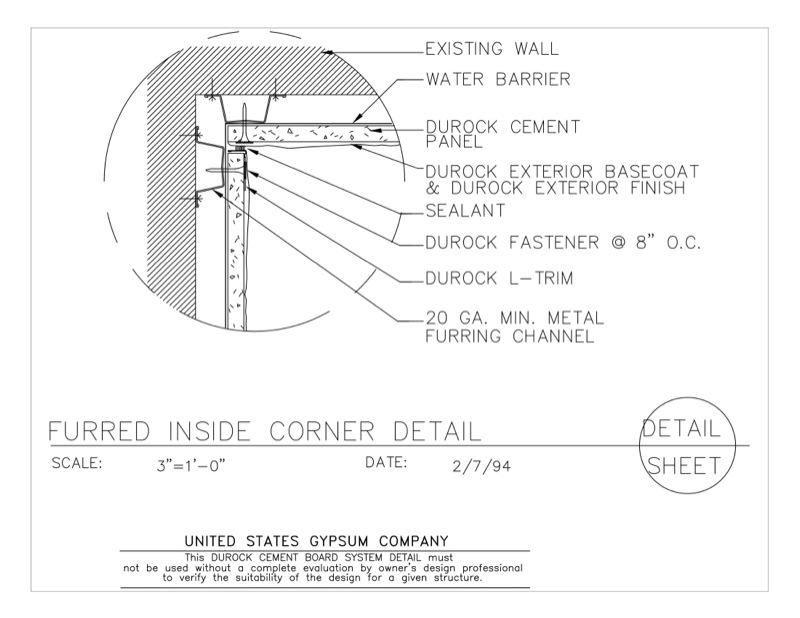 09 21 16.03.2210 DUROCK Inside Corner Detail DWC20 Channels