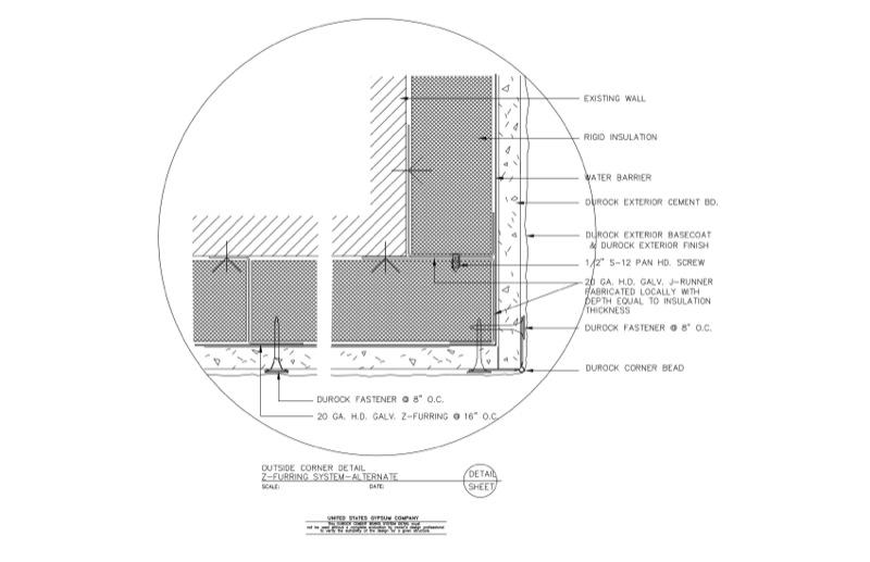 Wonderful 09 21 16.03.229 DUROCK Outside Corner Detail Z Furring System Alternate