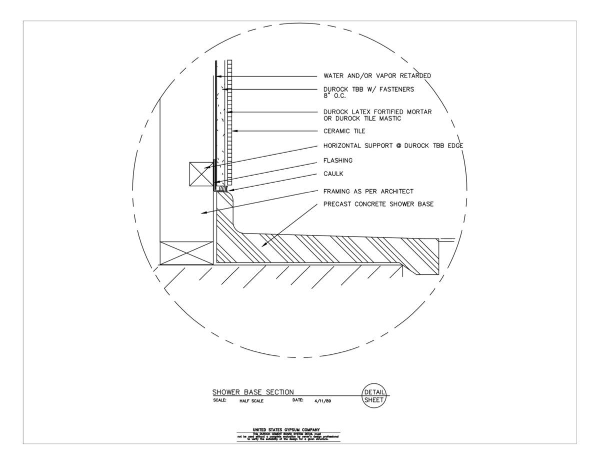 Usg Design Studio Shower Base Section Download Details