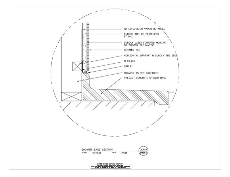 09 21 16.03.253 DUROCK Wet Area Shower Base Section