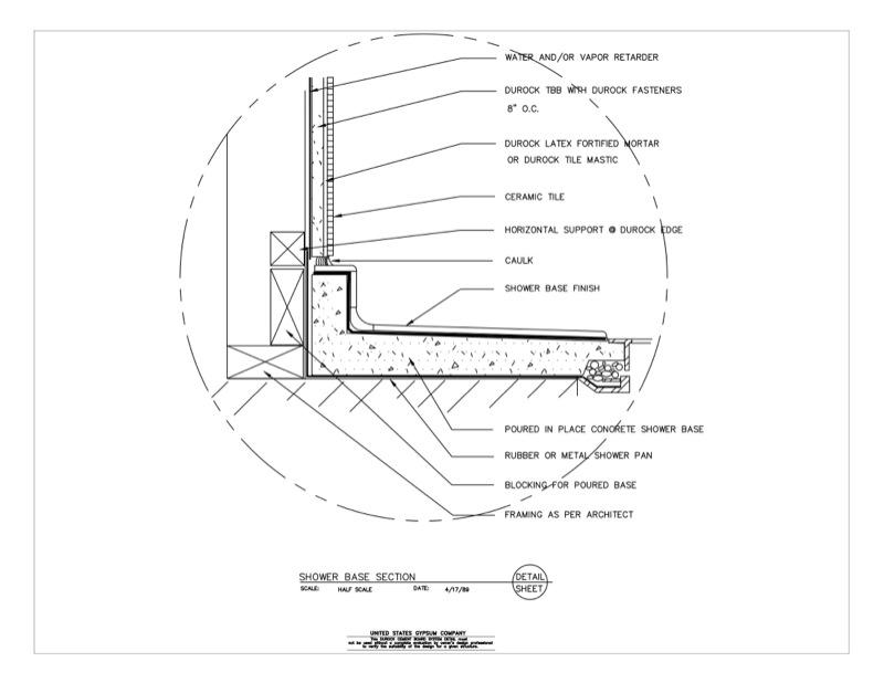 09 21 16.03.255 DUROCK Wet Area Shower Base Section