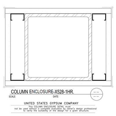 09 21 16.113.311 Gypsum Column Enclosure X528 1 Layer TS8x8x0.250