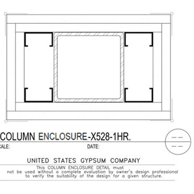 09 21 16.113.313 Gypsum Column Enclosure X528 2 Layers TS8x8x0.188