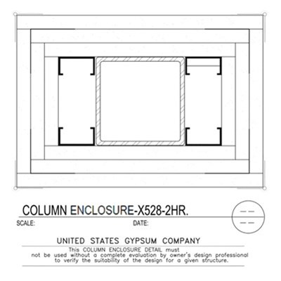 09 21 16.113.318 Gypsum Column Enclosure X528 3 Layers TS8x8x0.188