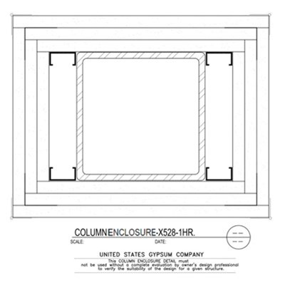 09 21 16.113.319 Gypsum Column Enclosure X528 3 Layers TS8x8x0.250