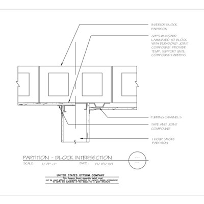 09 21 16.117 Gypsum Board Assembly Partition Intersections Concrete Block Intersection