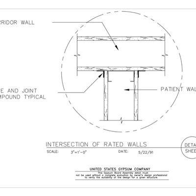 09 21 16.119 Gypsum Board Assembly Partition Intersections Intersection of Rated Walls Detail