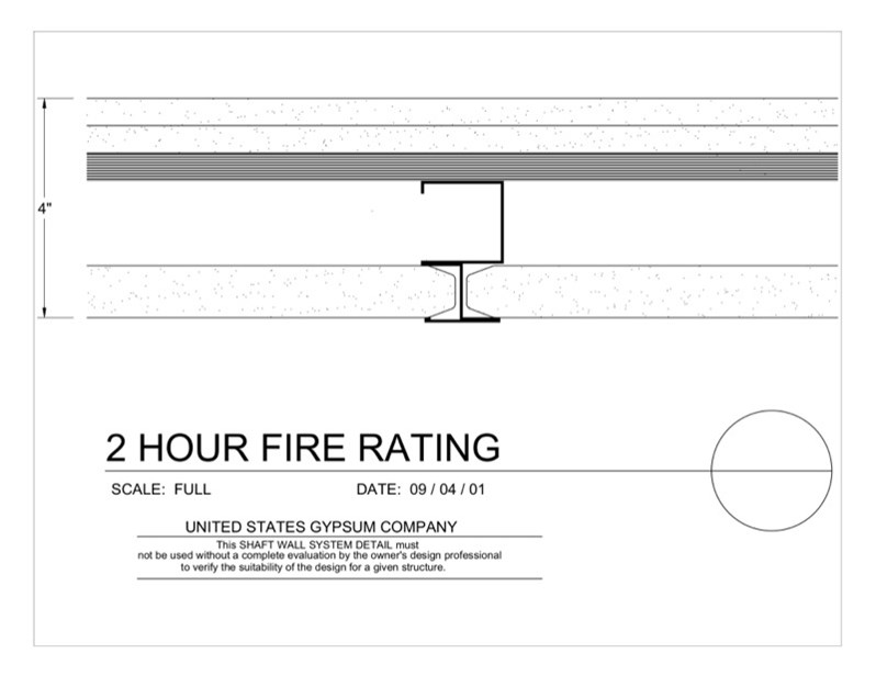 Usg design studio 09 21 shaft wall 2hr for 1 hour fire rated floor assembly