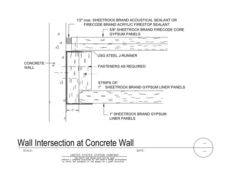 Box wall gypsum shaft penetration electrical