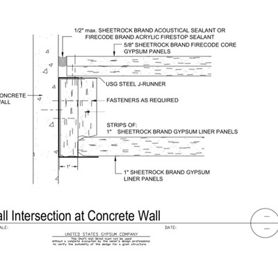 09 21 16.23.116 Shaft Wall Shaft Wall at Concrete Wall J-Runner No Gap