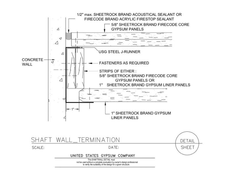 Usg Design Studio 09 21 16 23 117 Shaft Wall Termination