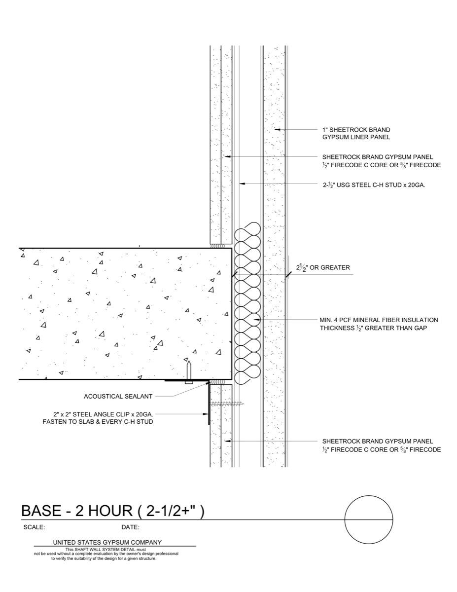 09 21 16 23 164 Shaft Wall Intermediate Floor Base