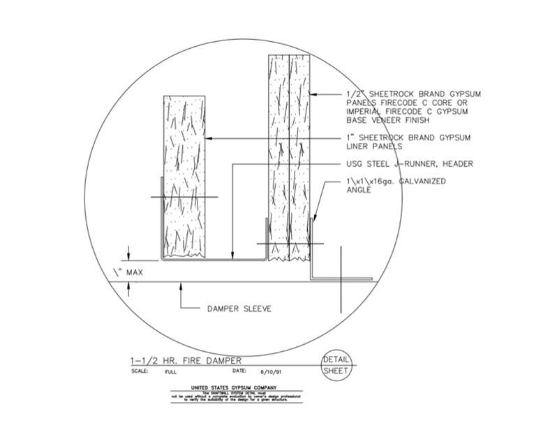 09 21 16.23.201 Shaft Wall 1.5-Hr. Fire Damper Detail