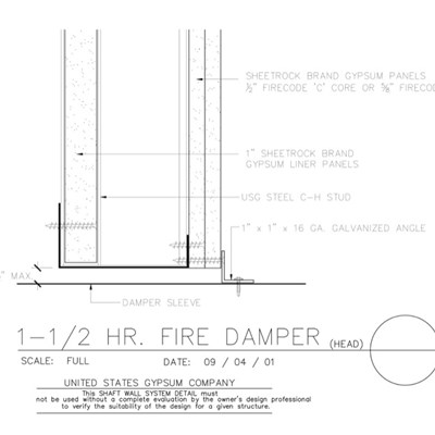 09 21 16.23.201 Shaft Wall Fire Damper  Head