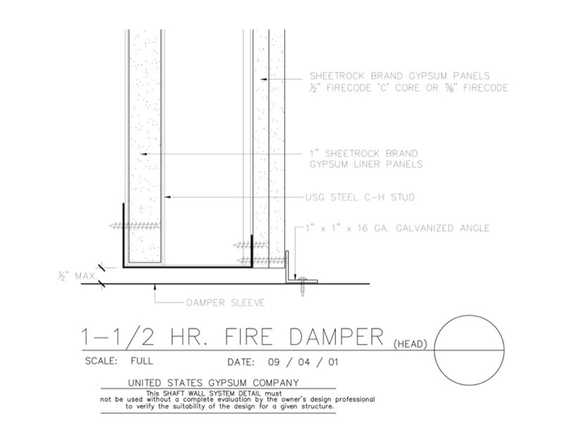 Usg Design Studio 09 21 16 23 201 Shaft Wall Fire Damper