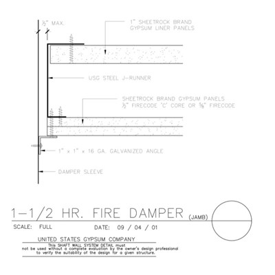 09 21 16.23.202 Shaft Wall Fire Damper  Jamb
