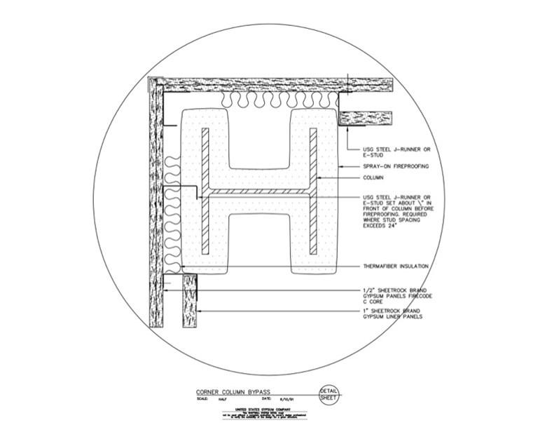 usg design studio 09 21 16 23 227 shaft wall corner column bypass