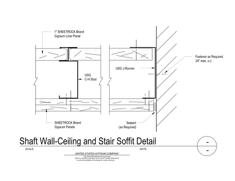 09 21 16 23 331 Shaft Wall Ceiling And Stair Soffit Detail