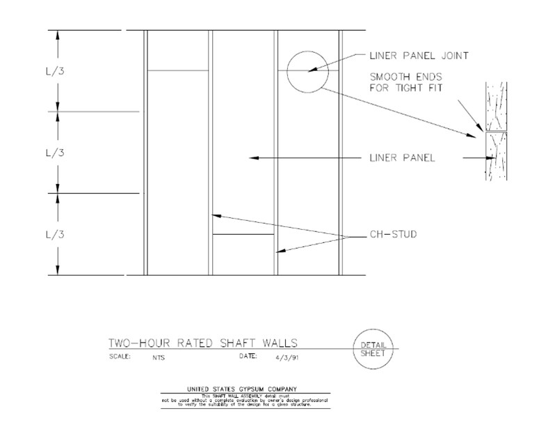 Usg Design Studio 09 21 Shaft Wall 2hr Rated Shaftwall Elevation Detail Download