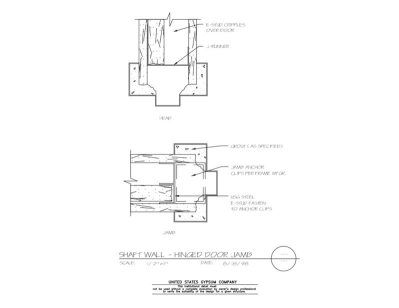 Usg design studio 09 21 shaft wall hinged door for Door jamb detail