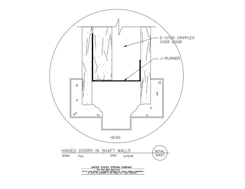 door jamb detail plan. 09 21 16.23.381 Shaft Wall Hinged Doors Door Jamb Detail Plan