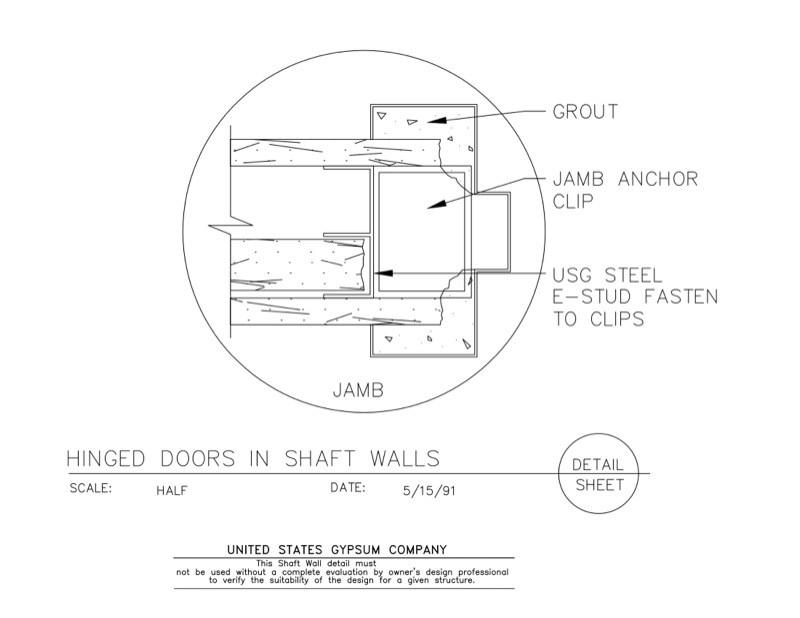door jamb detail plan. 09 21 16.23.382 Shaft Wall Hinged Doors Door Jamb Detail Plan N