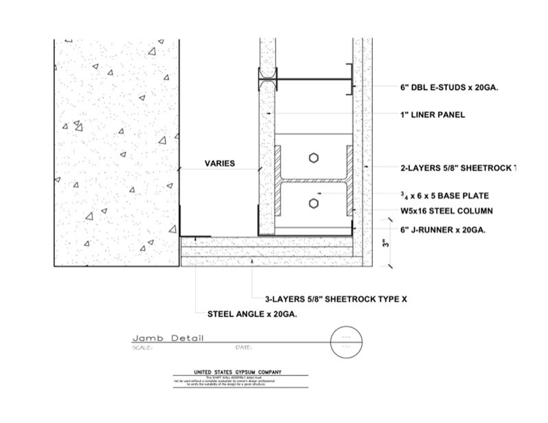 Usg Design Studio 09 21 16 23 384 Shaft Wall Jamb Detail