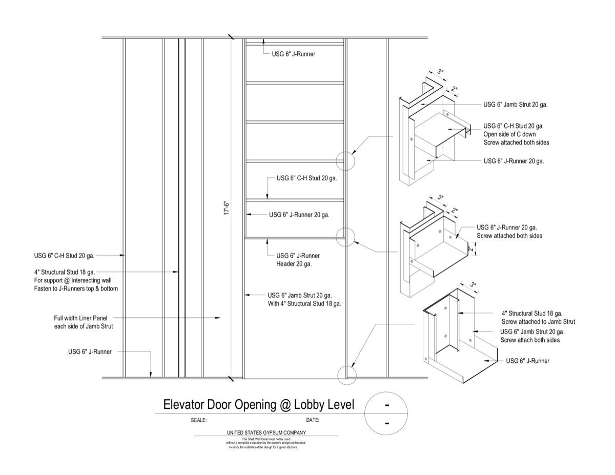 09 21 16 23 3910 Shaft Wall Lobby Elevator Door Elevation
