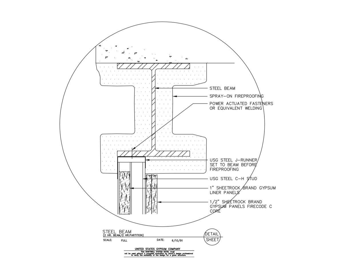 09 21 16 23 432 Shaft Wall Steel Beam 2-Hr  Beam-Partition-Floor