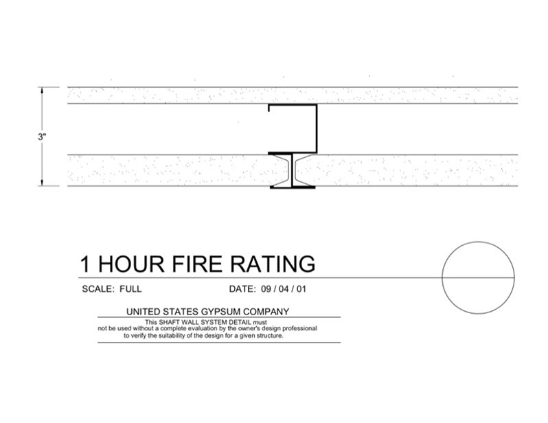 Usg design studio 09 21 shaft wall 1hr - One hour fire rated exterior wall assembly ...