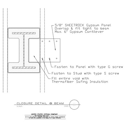 09 21 16.317 Gypsum Board Assembly Structural Detail Closure Detail at Beam