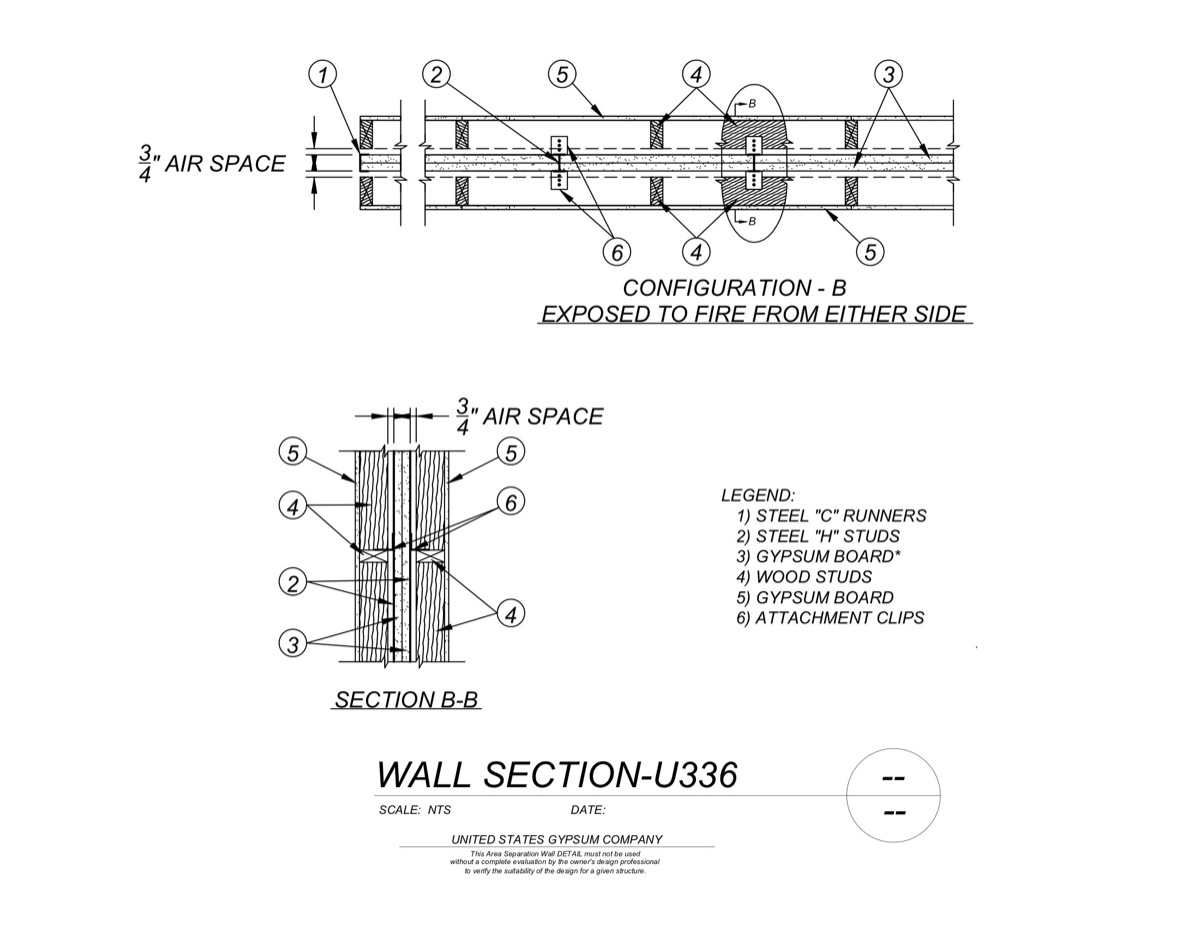 1hr Separation Wall : Usg design studio hr download details