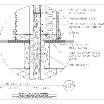 Usg design studio area separation wall download details for Ul u341