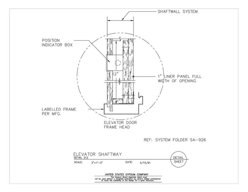 09 21 16 391 Gypsum Board Assembly Elevator Shaftway