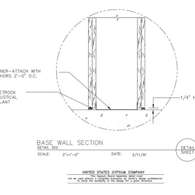 09 21 16.401 Gypsum Board Assembly Base Wall Section