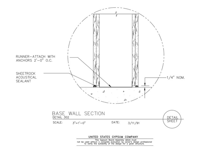 Gypsum board assembly base wall section