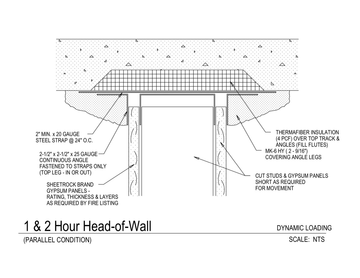 Usg design studio 09 21 head of wall detail 1 2hr for 1 hour fire rated floor assembly